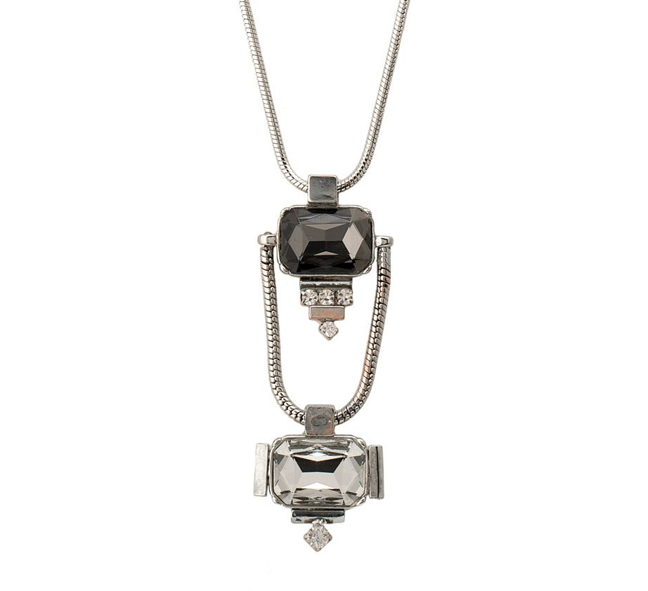 Moonlight double drop square stoned pendant