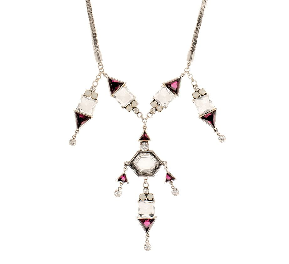 Kaleidoscope geometric crystal drop necklace