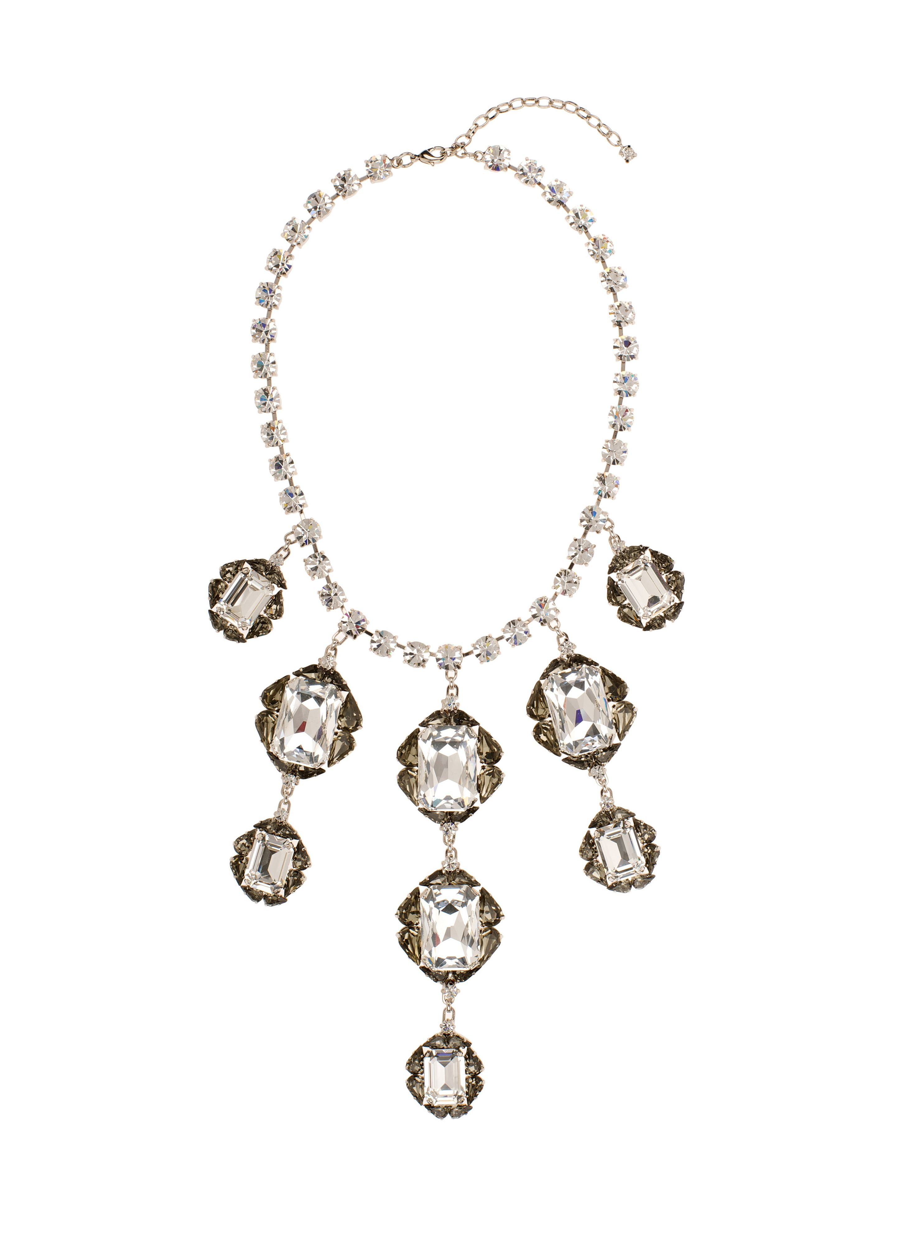 Giant crystal cascading necklace