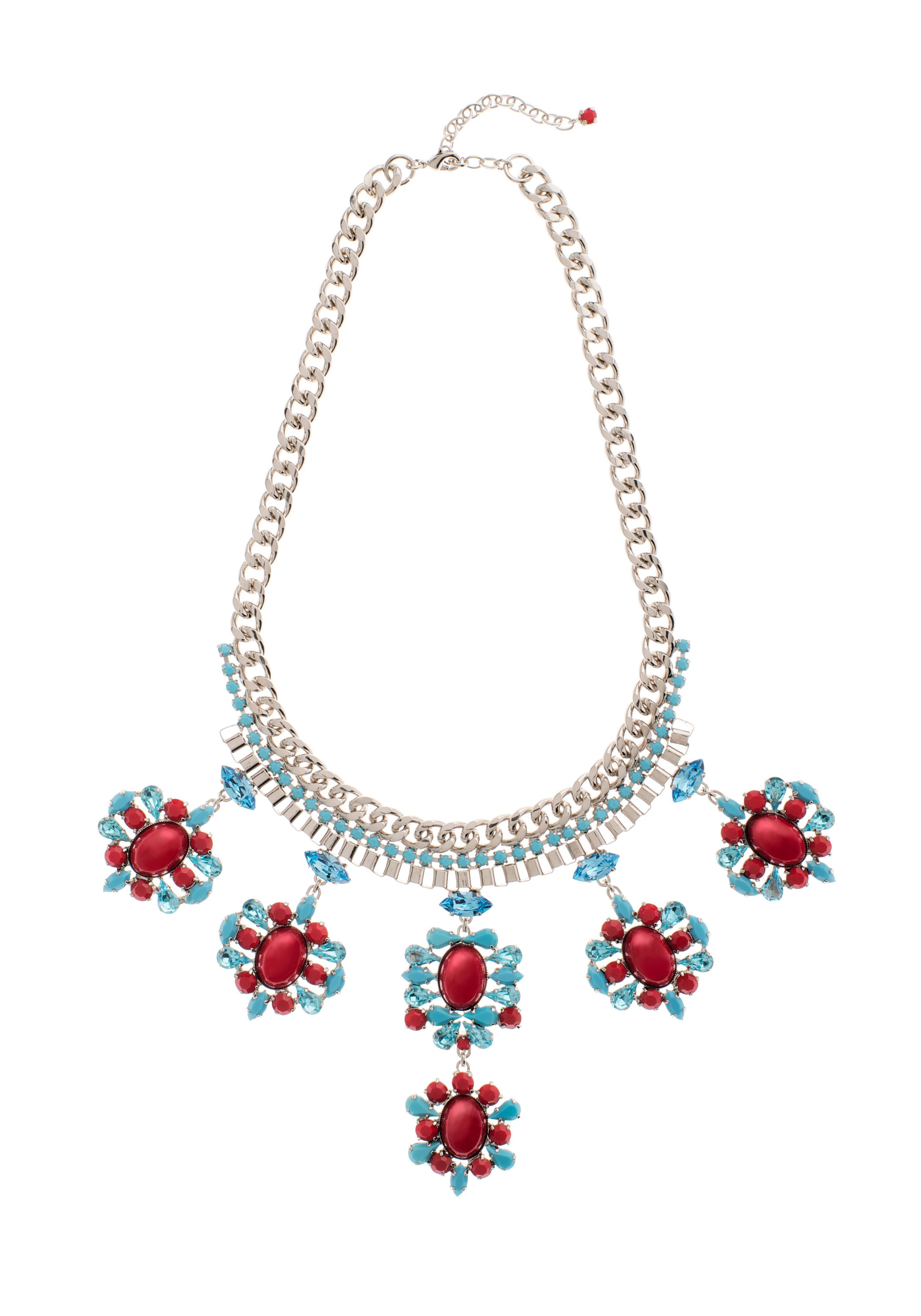 Opulent blue & red statement necklace