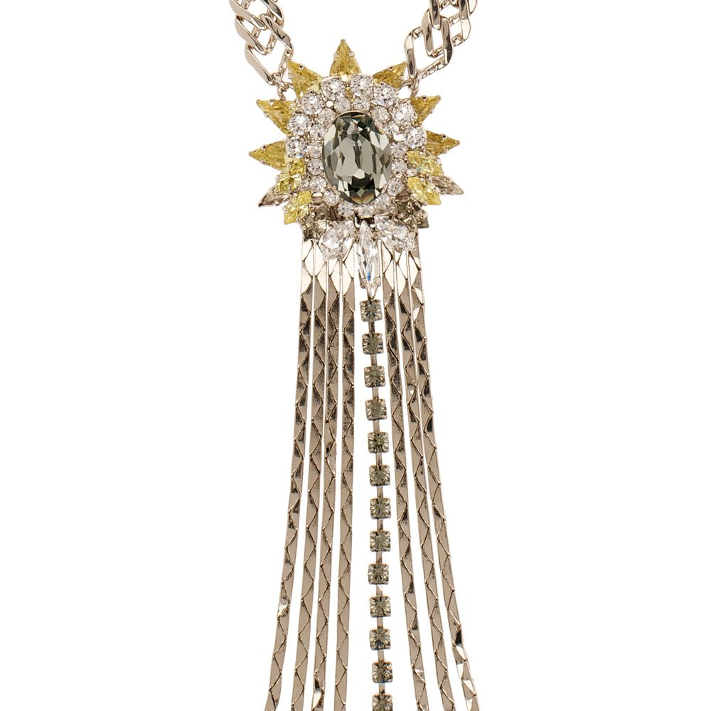 Starburst crystal tassel necklace