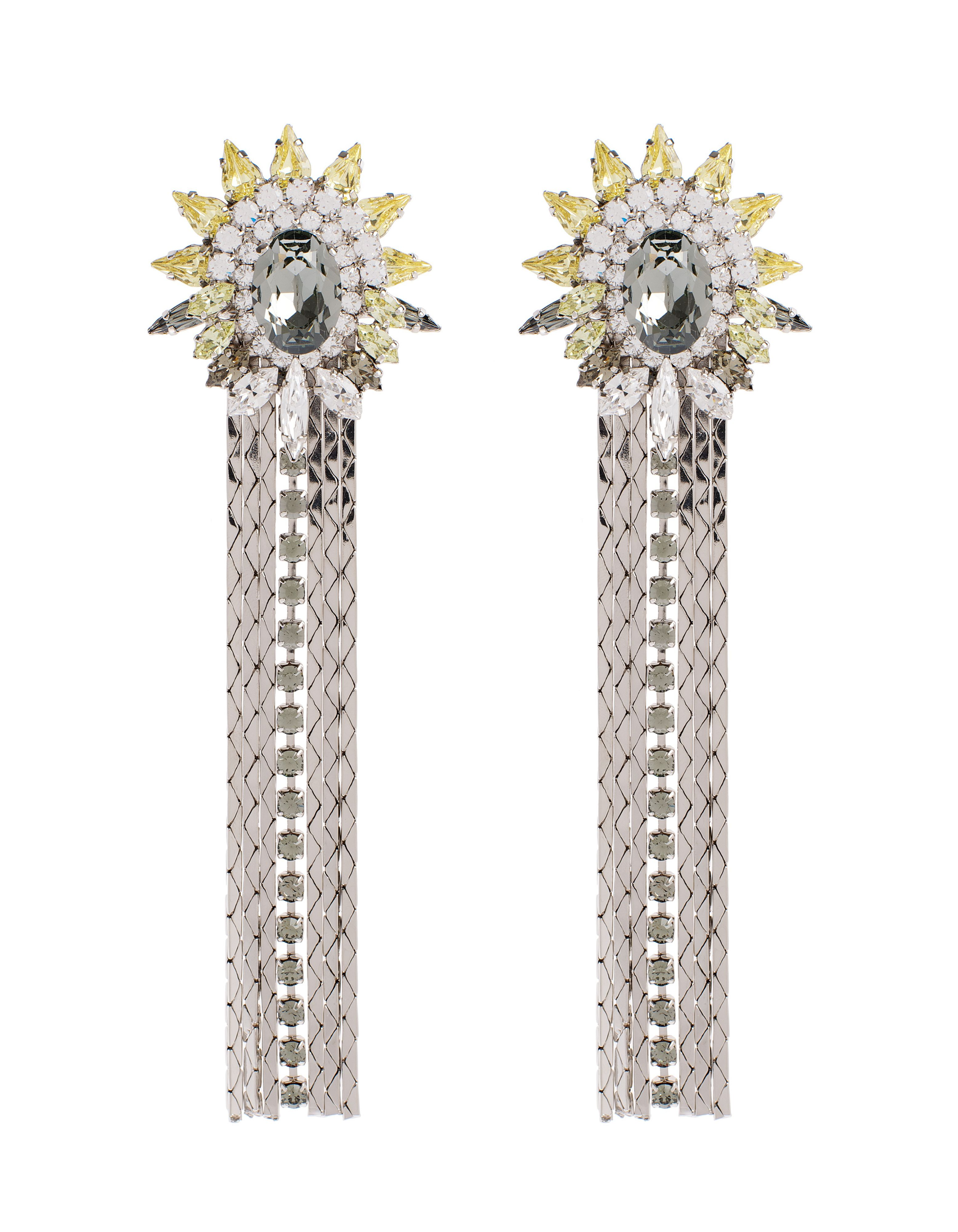 Starburst crystal tassel earrings