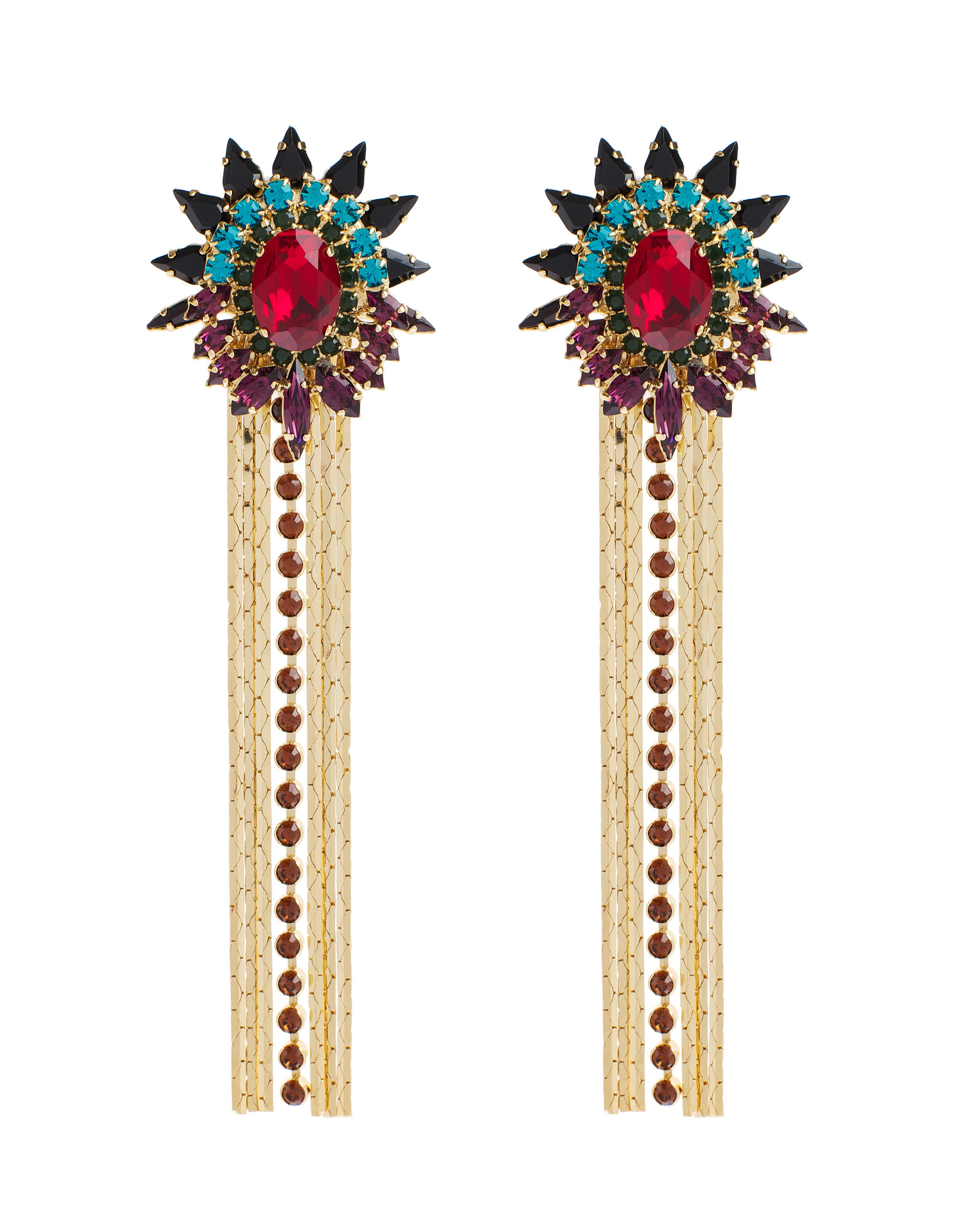 Starburst multi tassel earrings
