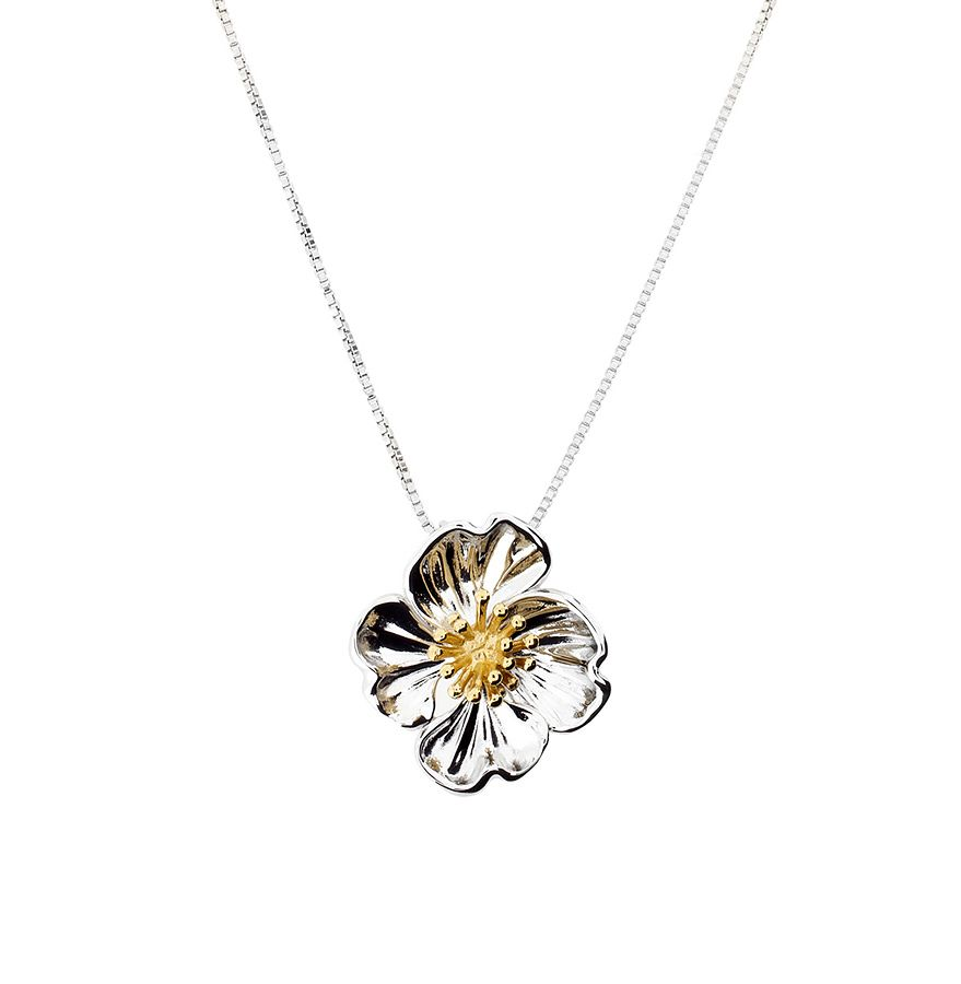 Silver and gold vermeil primrose pendant