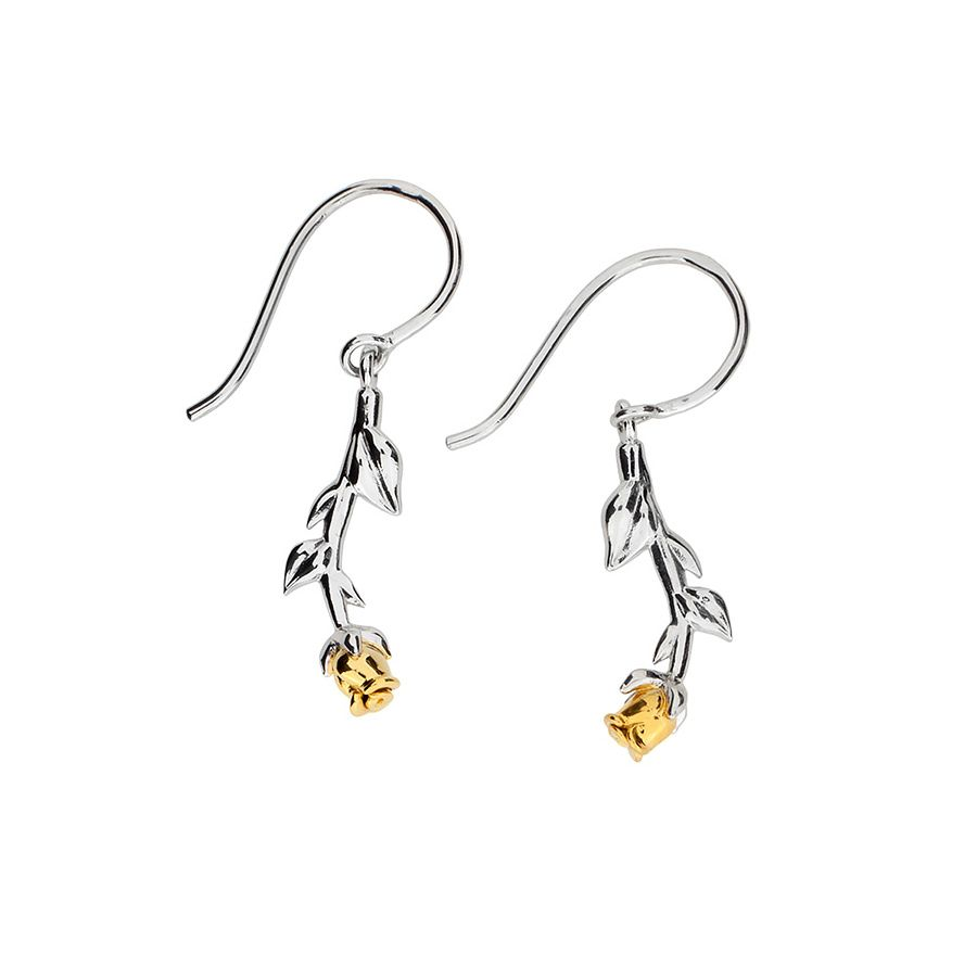Silver & gold vermeil rose earrings