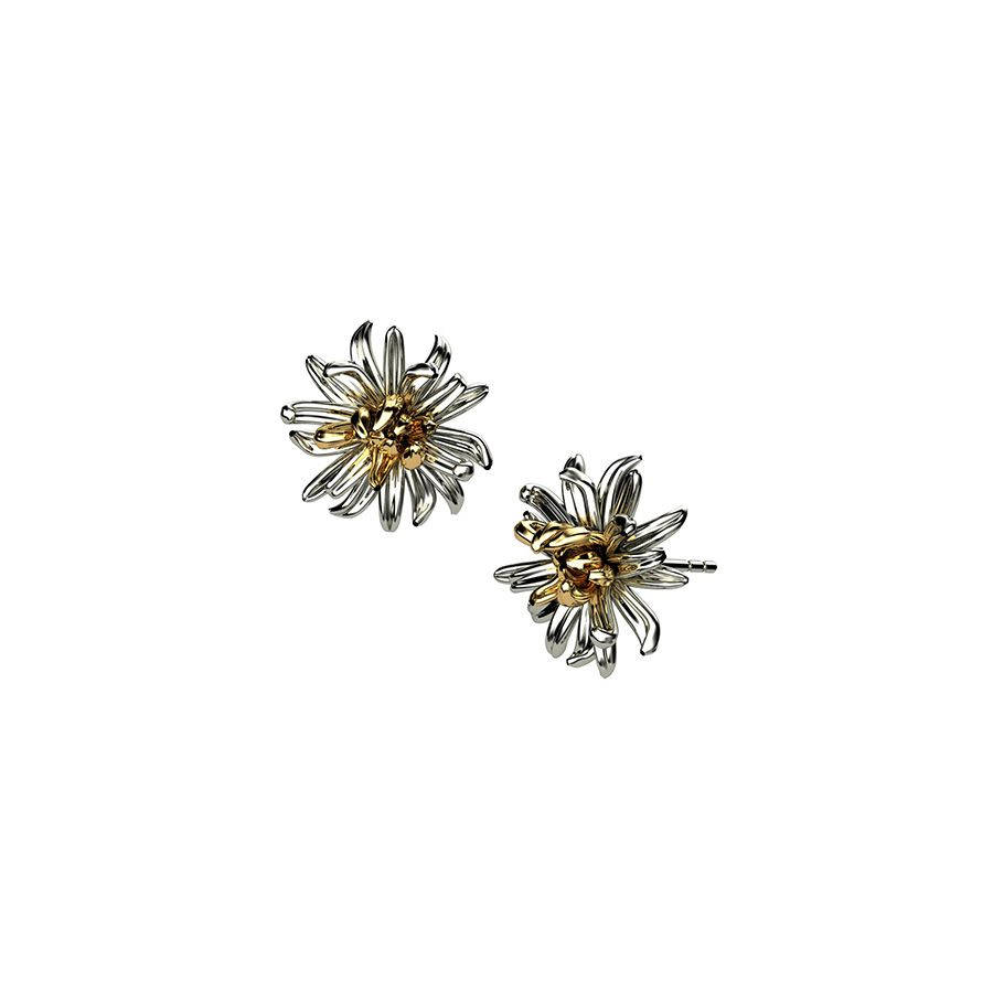 Sterling Silver Chrysanthemum Earrings
