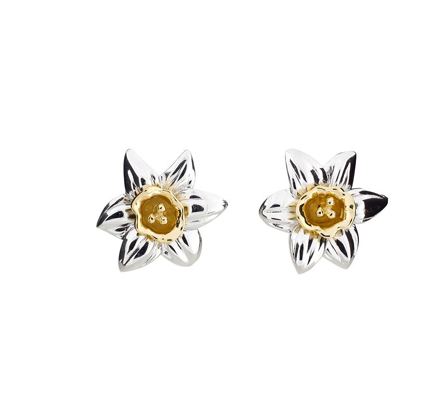Silver & gold vermeil narcissus earrings