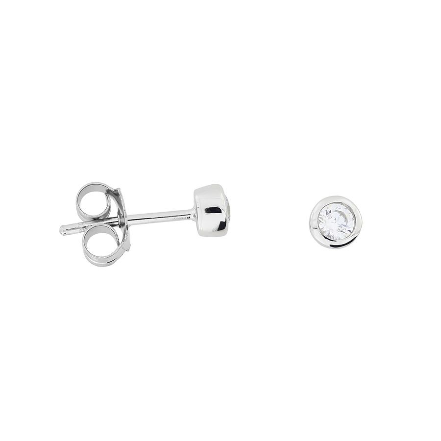 3mm Sterling Silver Clear Cubic zirconia studs