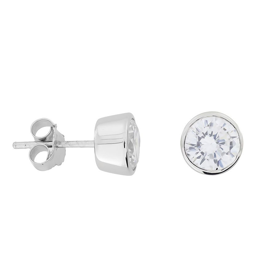 7mm Sterling Silver Clear Cubic zirconia studs