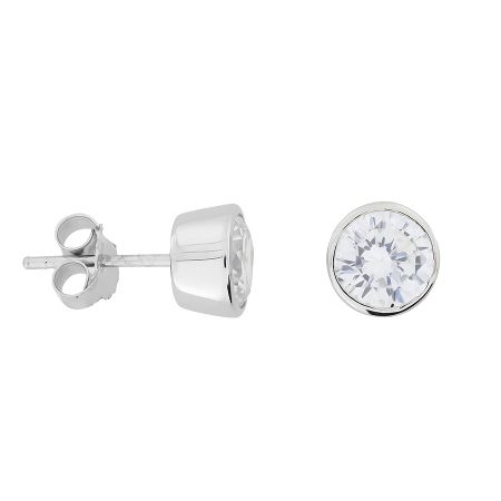 Azendi 7mm Sterling Silver Clear Cubic zirconia studs