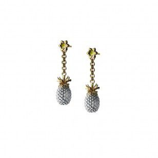 Silver pineapple earrings with gold plated stalk