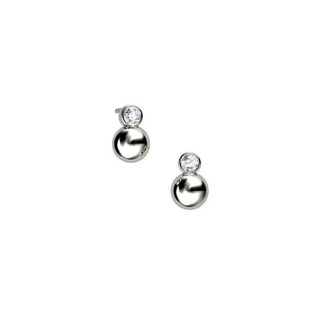 Silver and cubic zirconia ball stud earrings