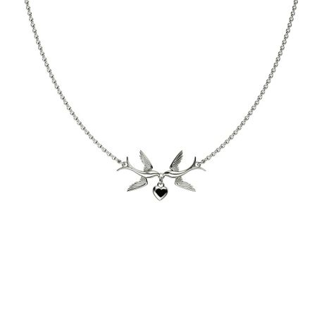 Azendi Swallows And Hearts Necklace