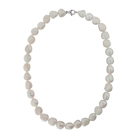 Azendi White Freshwater Pearl Necklace