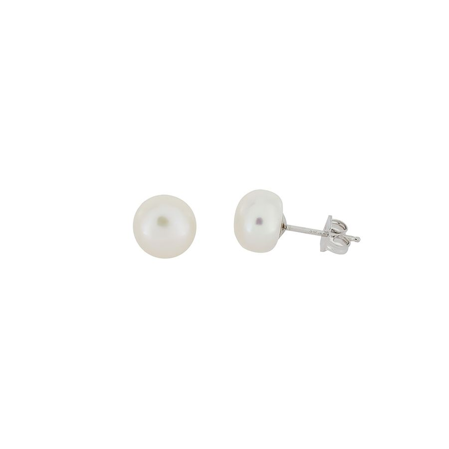 Medium button pearl stud earrings