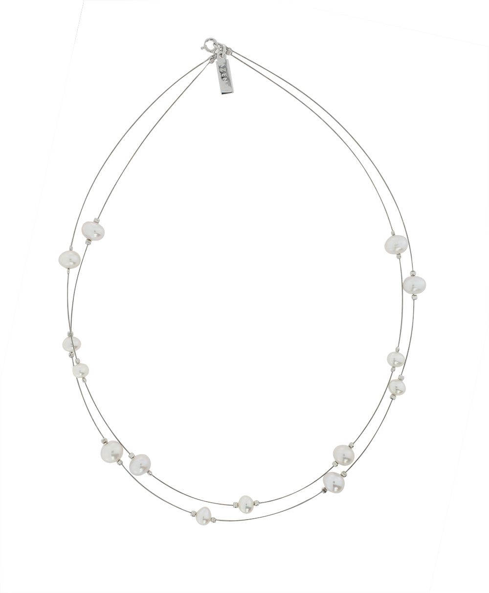 Fresh Water Pearls On Wire Necklace