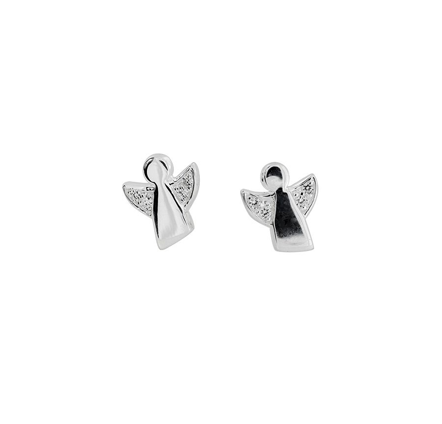Sterling Silver and Cubic Zirconia Angel Studs