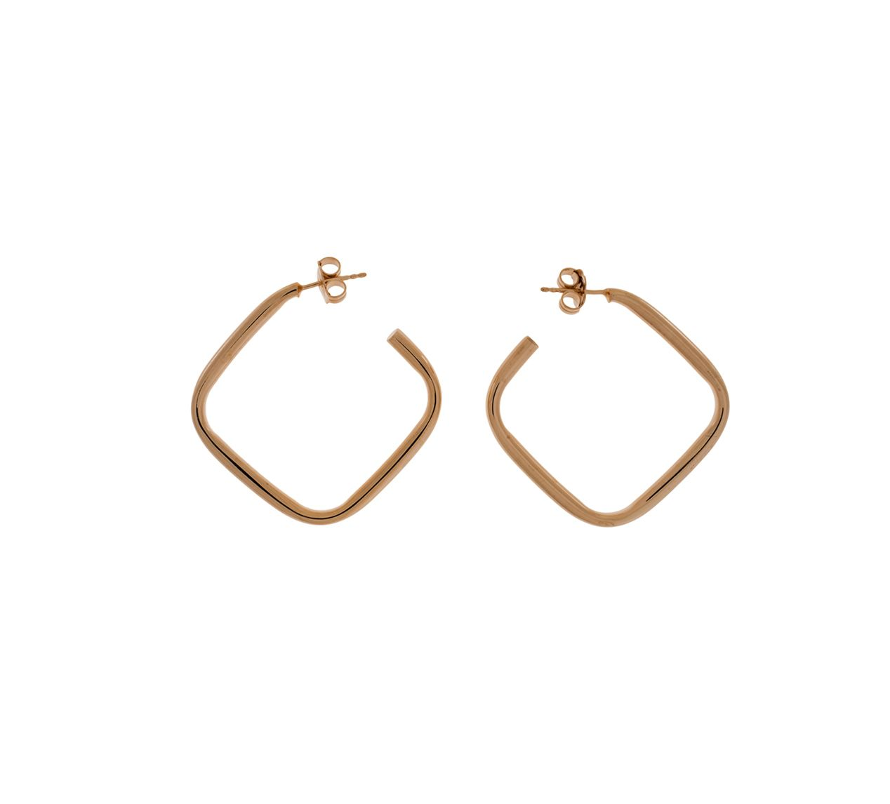 18Ct Rose Vermeil Silver Square Hoop Earrings