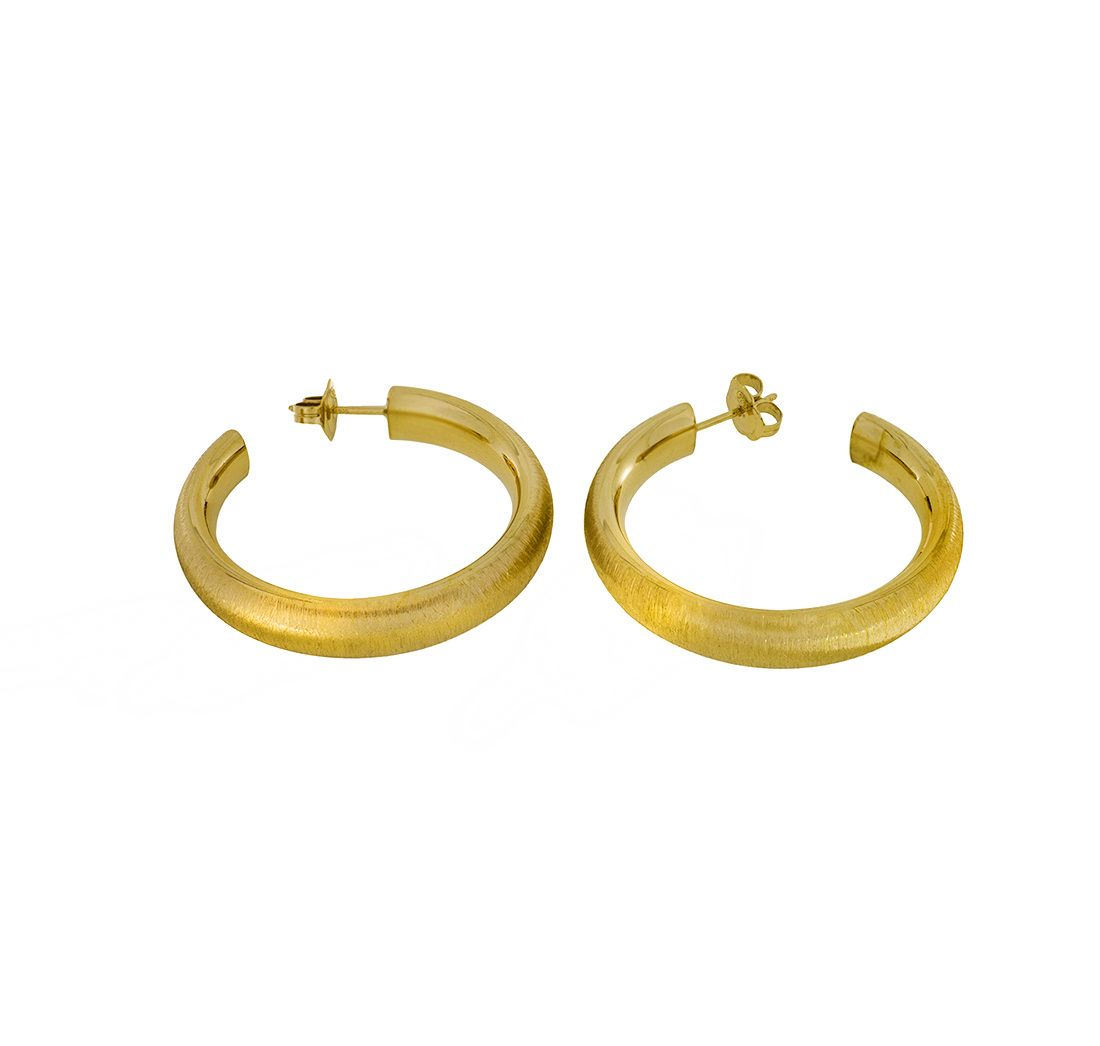 Vermeil Brushed Sterling Silver Hoops