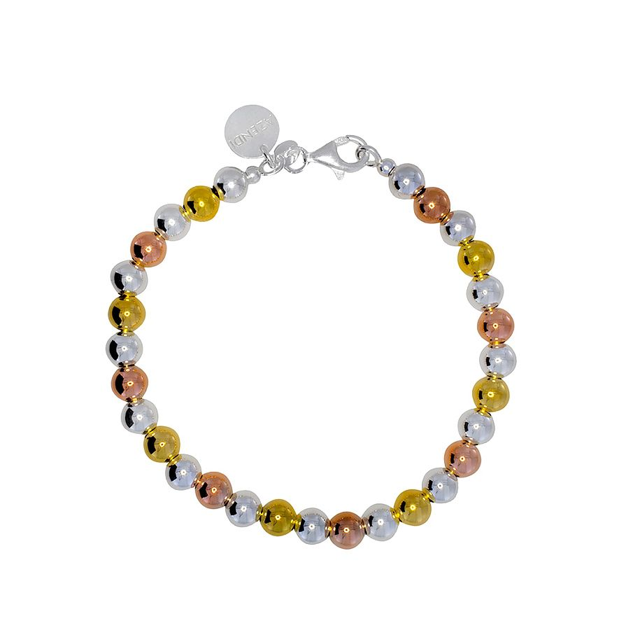 Sterling silver three colours ball bracelet