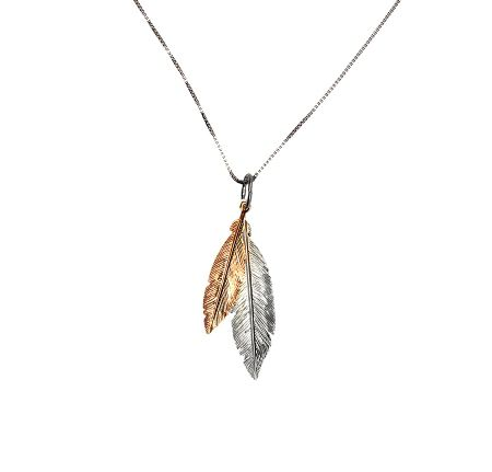 Azendi Rose gold vermeil  twin feather pendant