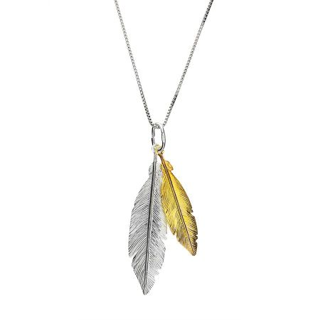 Azendi Gold vermeil twin feather pendant