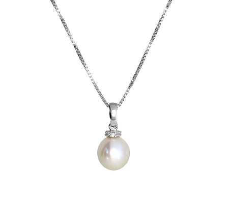 Azendi Pearl pendant with pavé ring