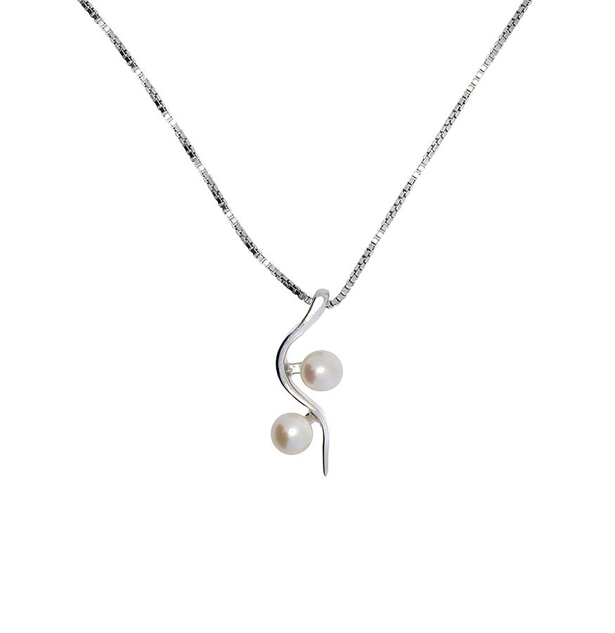 Sterling silver two wave white pearl  pendant