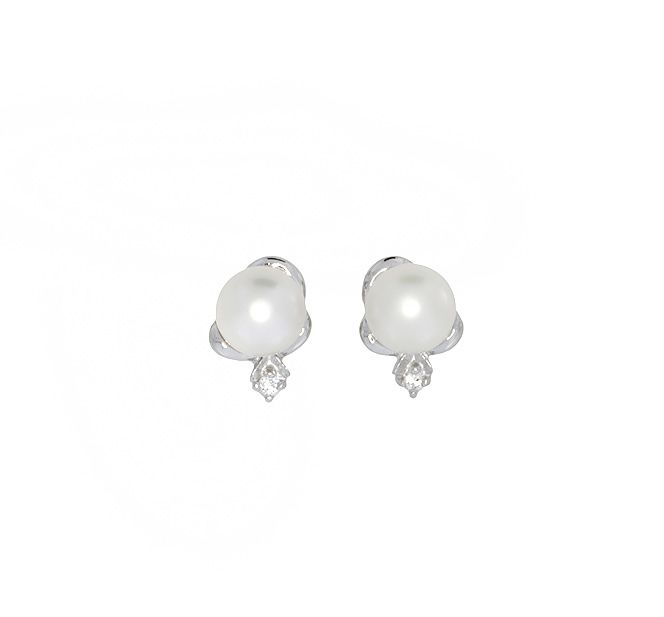Sterling silver pearl stud earrings with cz detai