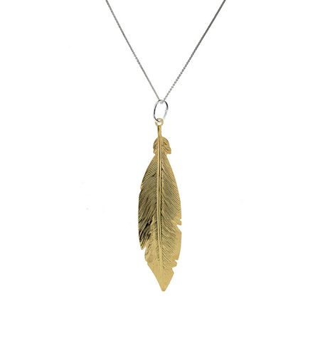 Azendi Sterling Silver/18ct Gold Vermeil Feather Pendant