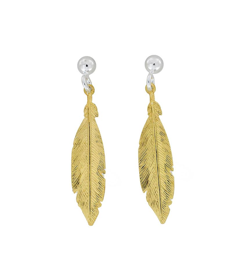 azendi sterling silver/18ct vermeil feather earrings