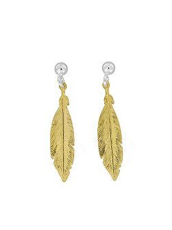 Sterling Silver/18ct Vermeil Feather Earrings