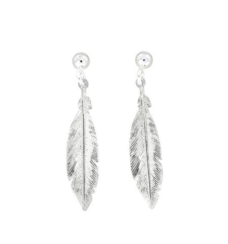 Azendi Sterling Silver Feather Earrings