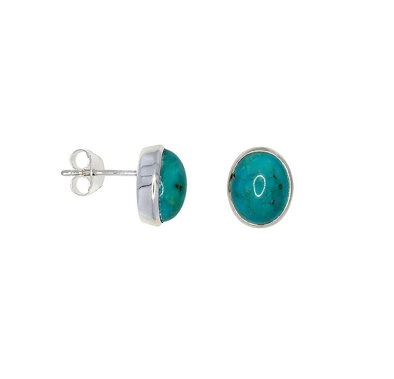 Sterling silver stud earrings with turquoise