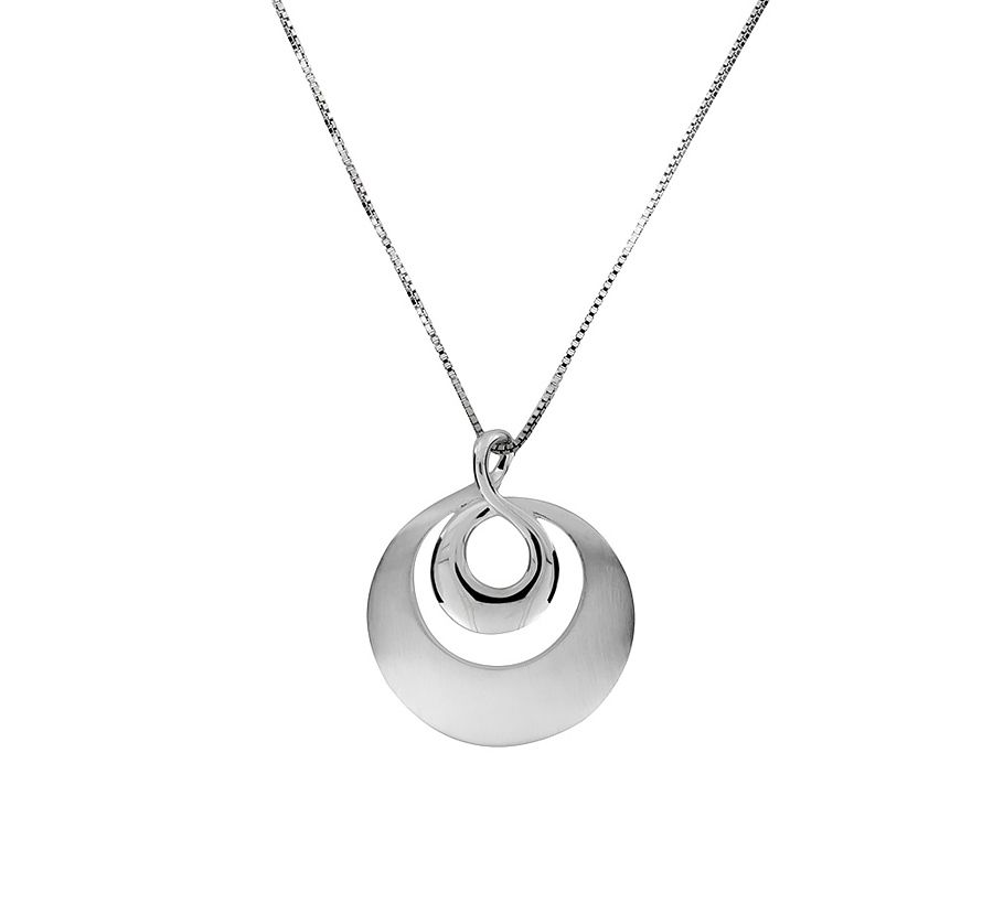 Sterling silver circle pendant with brushed and p