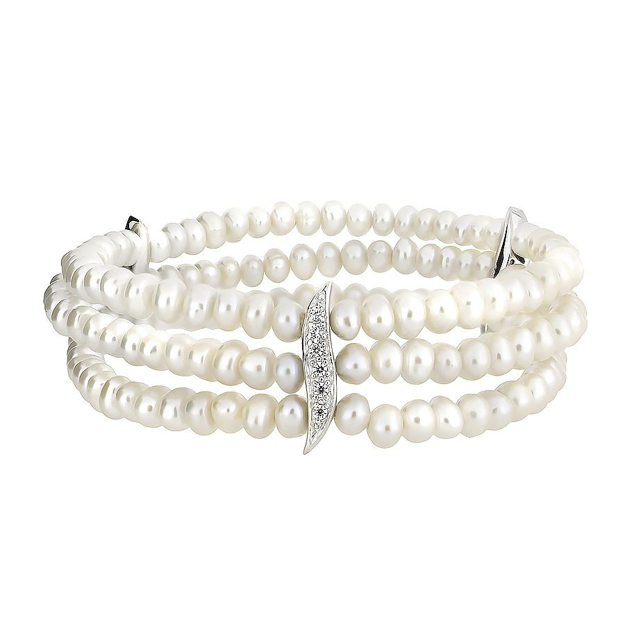 Sterling silver freshwater cultured white pearl t