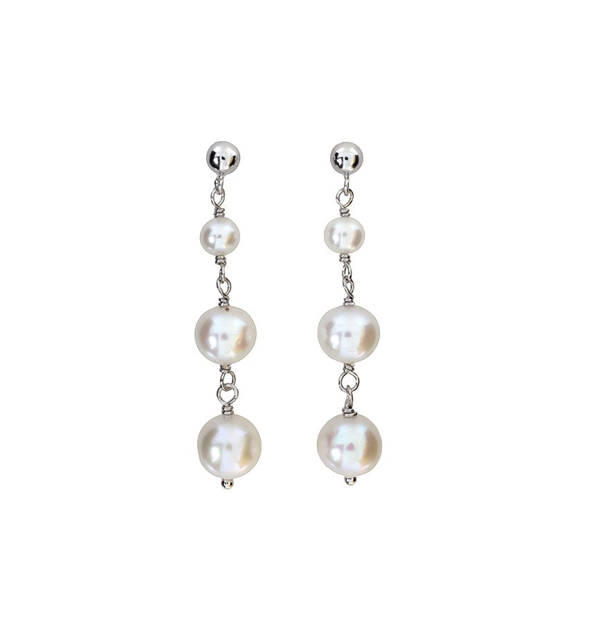 Sterling silver 3 drop pearl earring