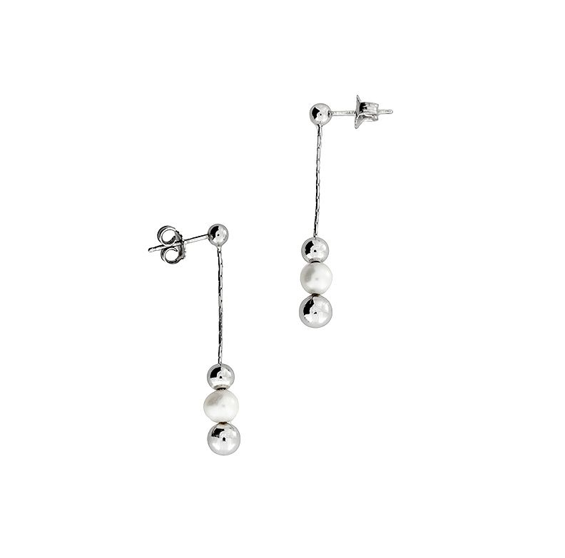 Silver ball & freshwater pearl earrings