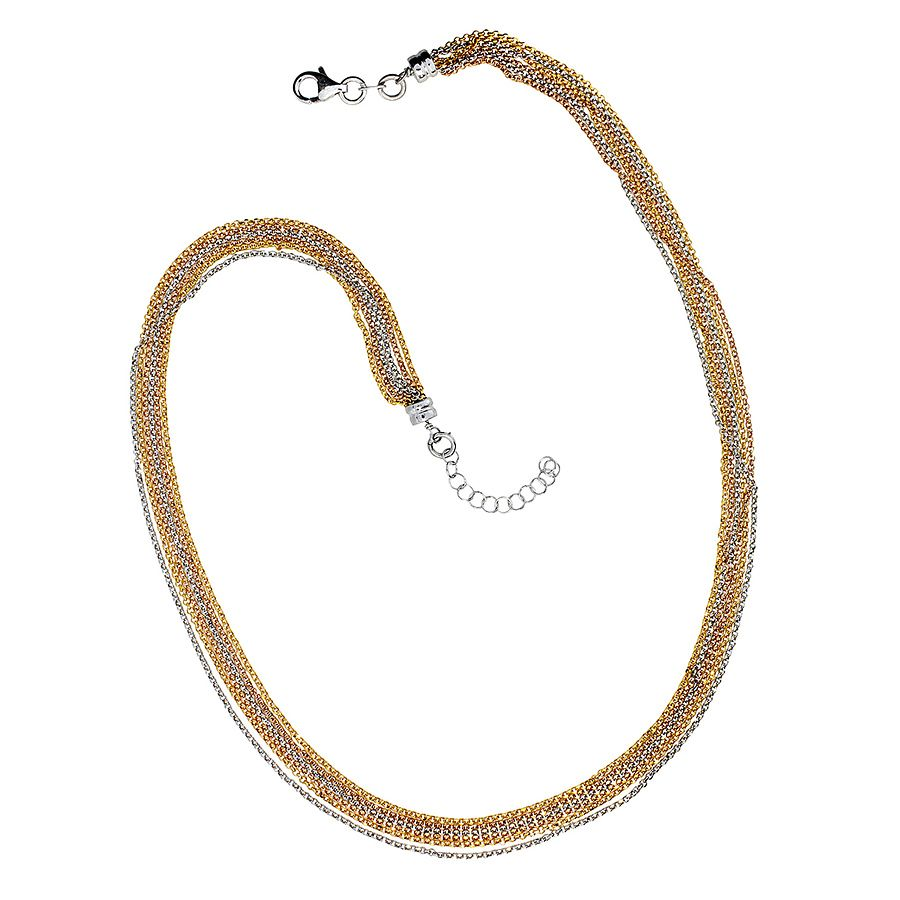 Gold vermeil six-stranded silver necklace