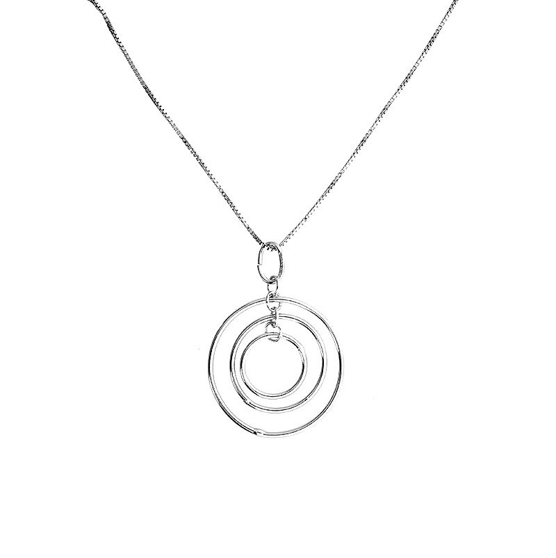 Concentric circles pendant in sterling silver