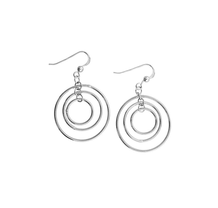 Concentric circles earrings in sterling silver