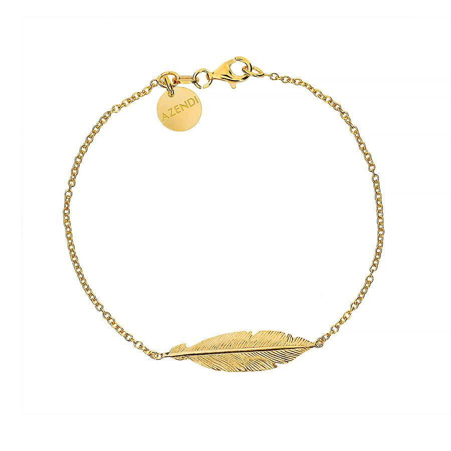Azendi Silver And Gold Vermeil Feather Bracelet, Silver