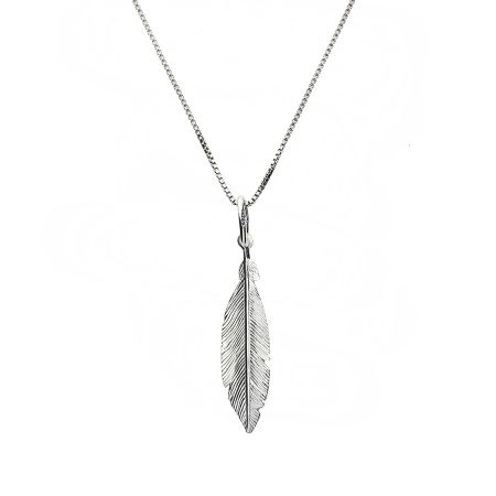 Azendi Tiny silver feather pendant