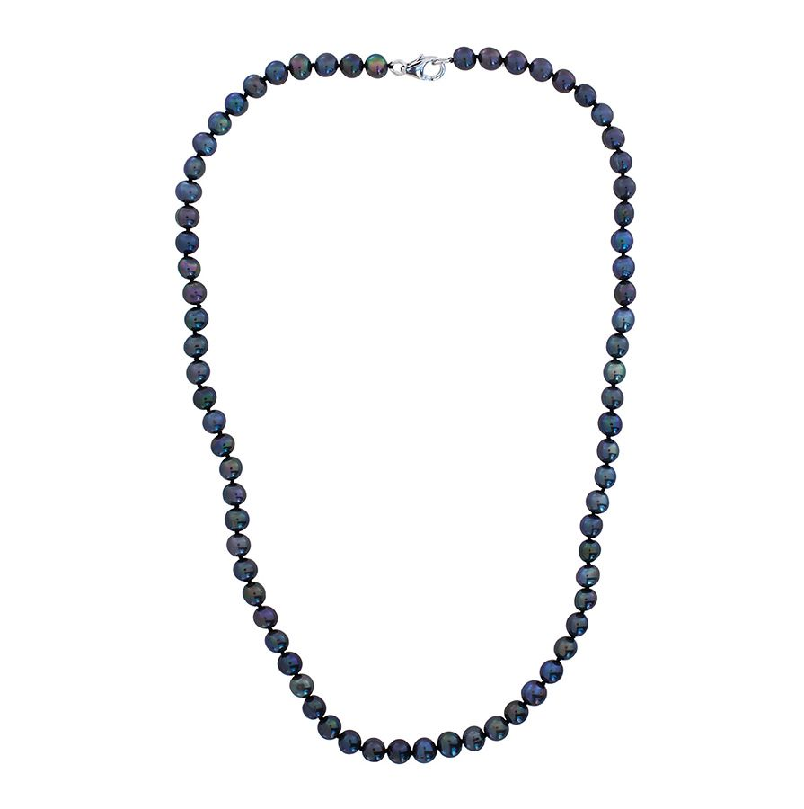 Sterling silver freshwater peacock pearl necklace