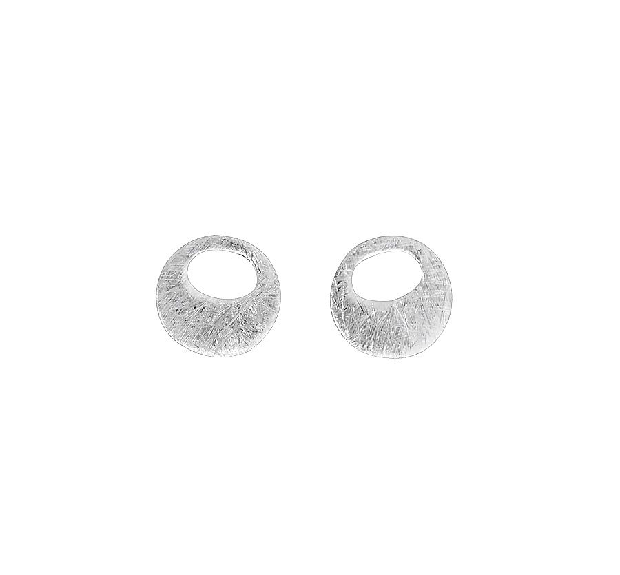 Sterling silver brushed circle earrings