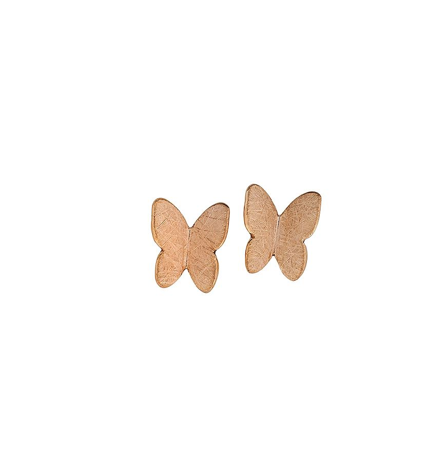 Sterling silver rose vermeil butterfly earrings