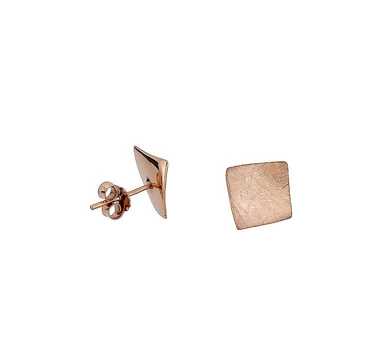 Sterling silver brushed square rose vermeil studs