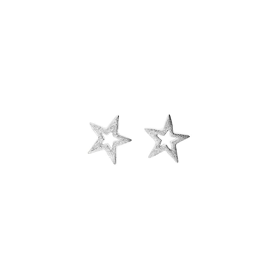 Sterling silver tiny star stud earrings