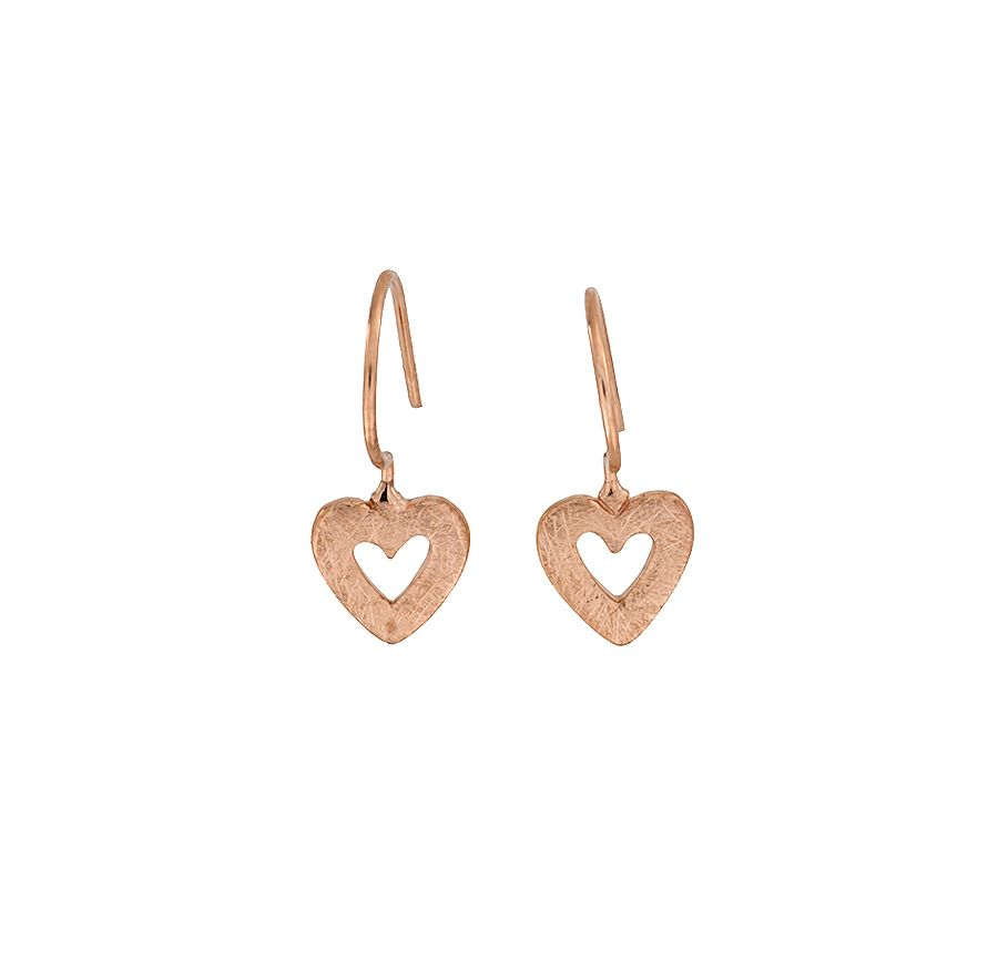 Rose vermeil open heart drop earrings