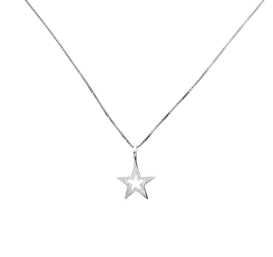 Sterling silver open star pendant